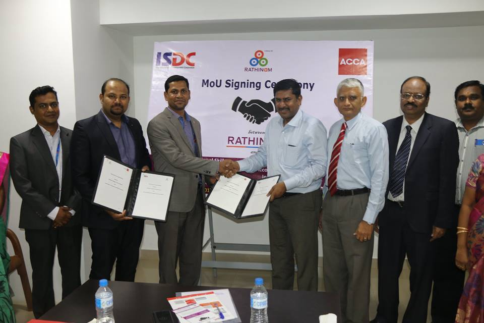 Rathinam signed MOU with Association of Chartered Certified Accountants (ACCA) - a Royal Charter Institution, London, U.K.& ISDC (International Skill Development Corporation) - gold approved learning partner of ACCA