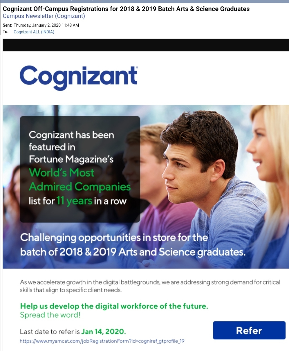 COGNIZANT JOB DRIVE
